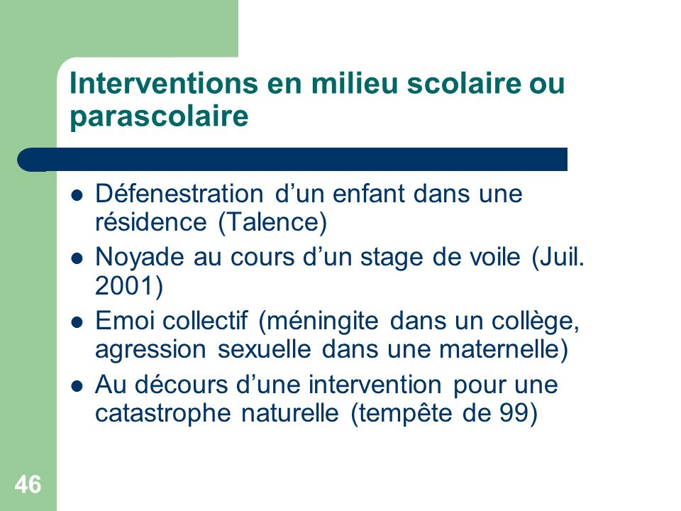 Interventions en milieu scolaire ou parascolaire