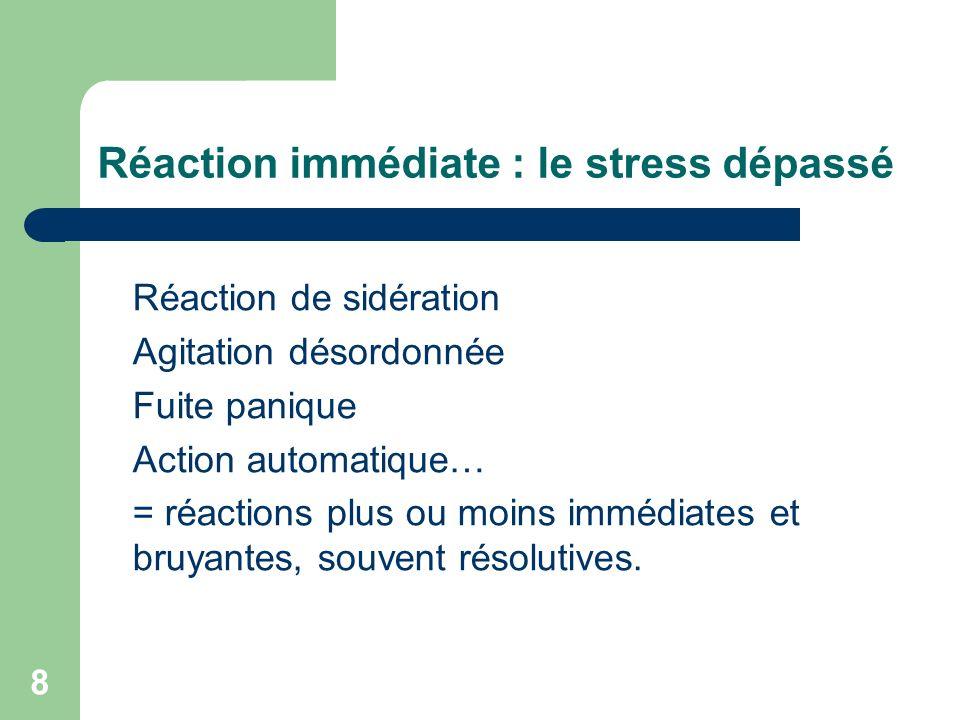 Réaction immédiate : le stress dépassé