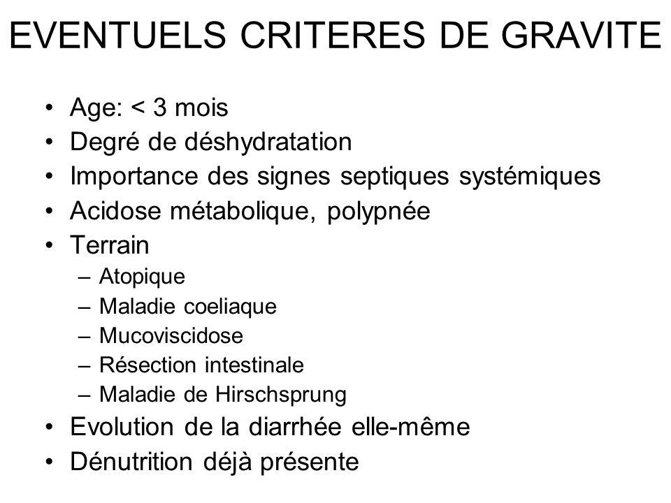 EVENTUELS CRITERES DE GRAVITE