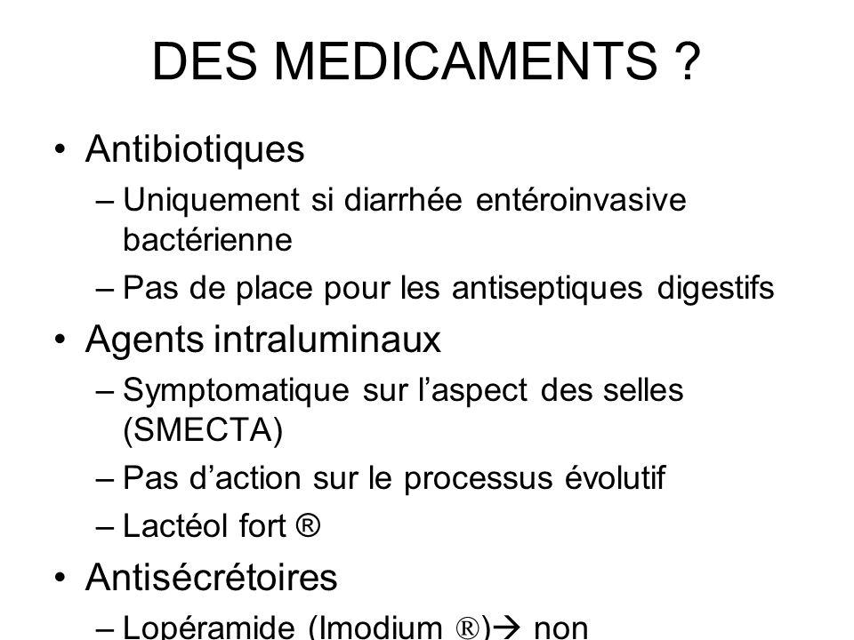 DES MEDICAMENTS Antibiotiques Agents intraluminaux Antisécrétoires