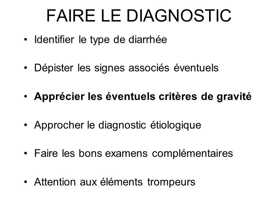 FAIRE LE DIAGNOSTIC Identifier le type de diarrhée