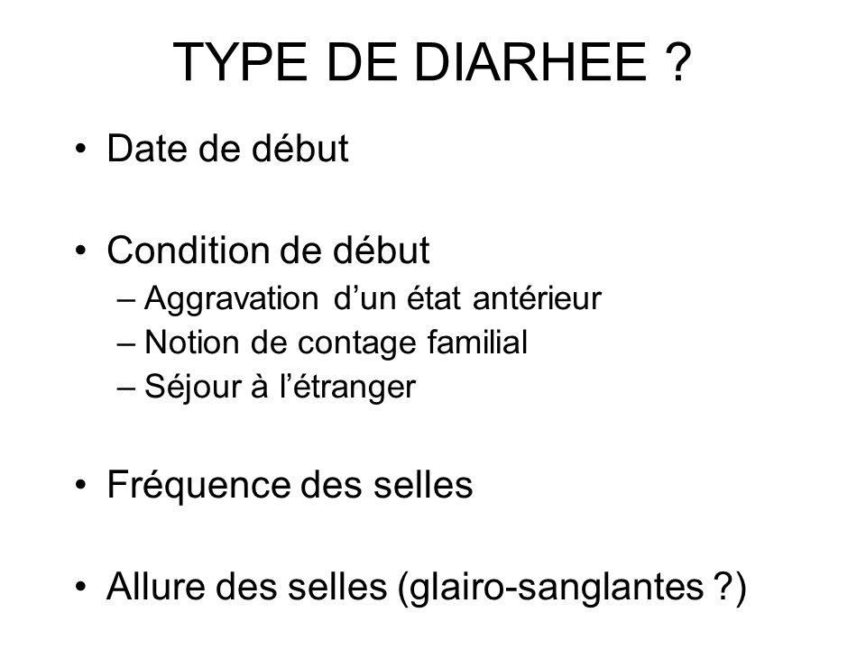 TYPE DE DIARHEE Date de début Condition de début