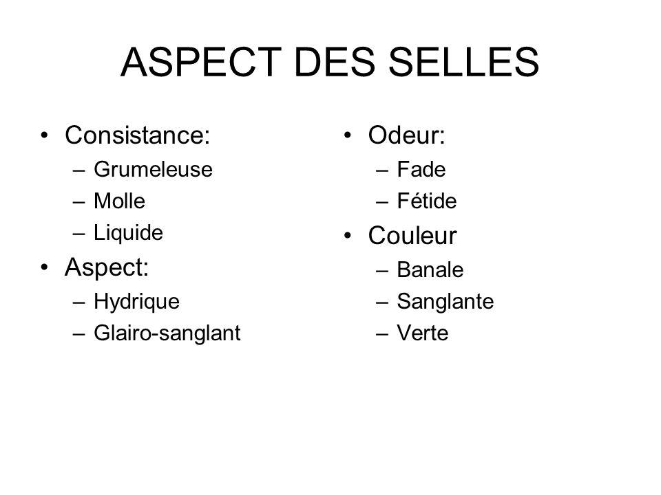 ASPECT DES SELLES Consistance: Aspect: Odeur: Couleur Grumeleuse Molle
