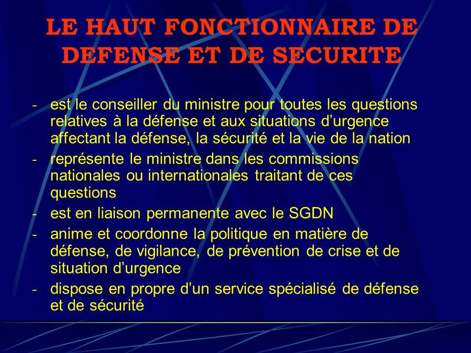 LE HAUT FONCTIONNAIRE DE DEFENSE ET DE SECURITE