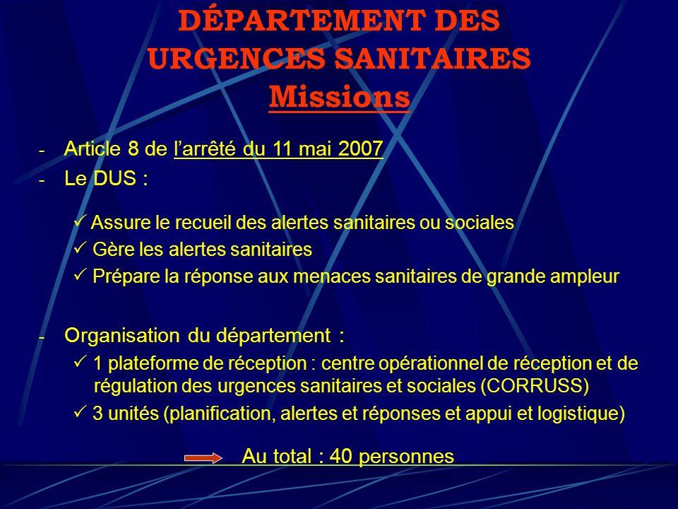 DÉPARTEMENT DES URGENCES SANITAIRES Missions