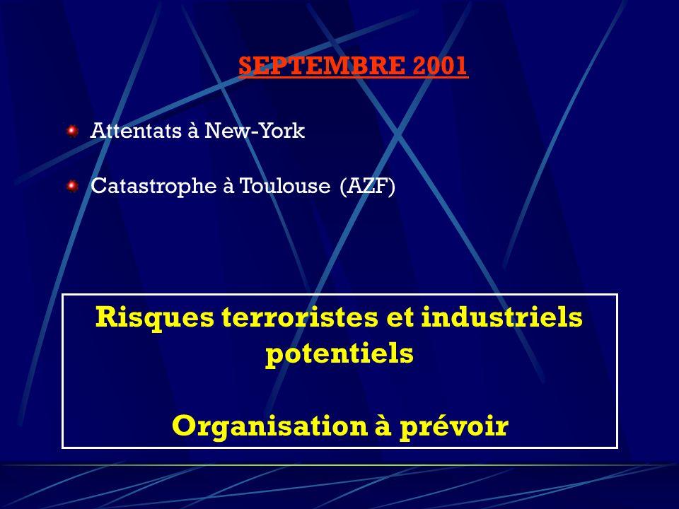 Risques terroristes et industriels potentiels Organisation à prévoir