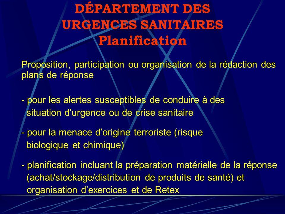 DÉPARTEMENT DES URGENCES SANITAIRES Planification