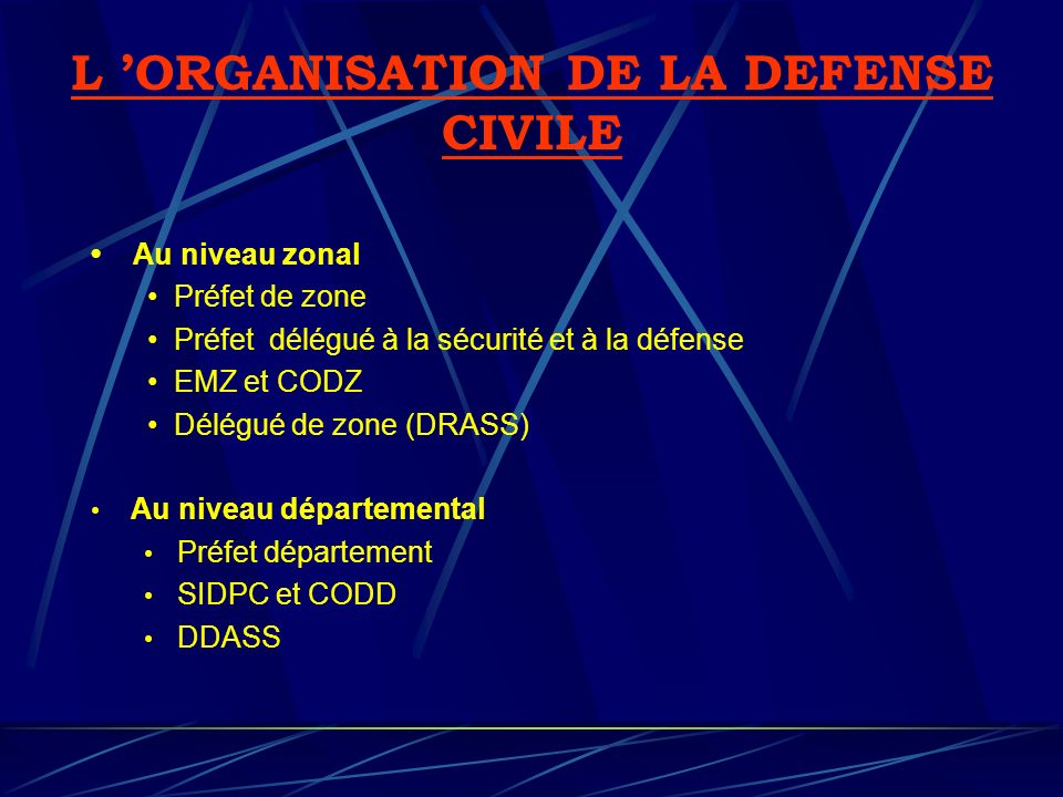 L 'ORGANISATION DE LA DEFENSE CIVILE