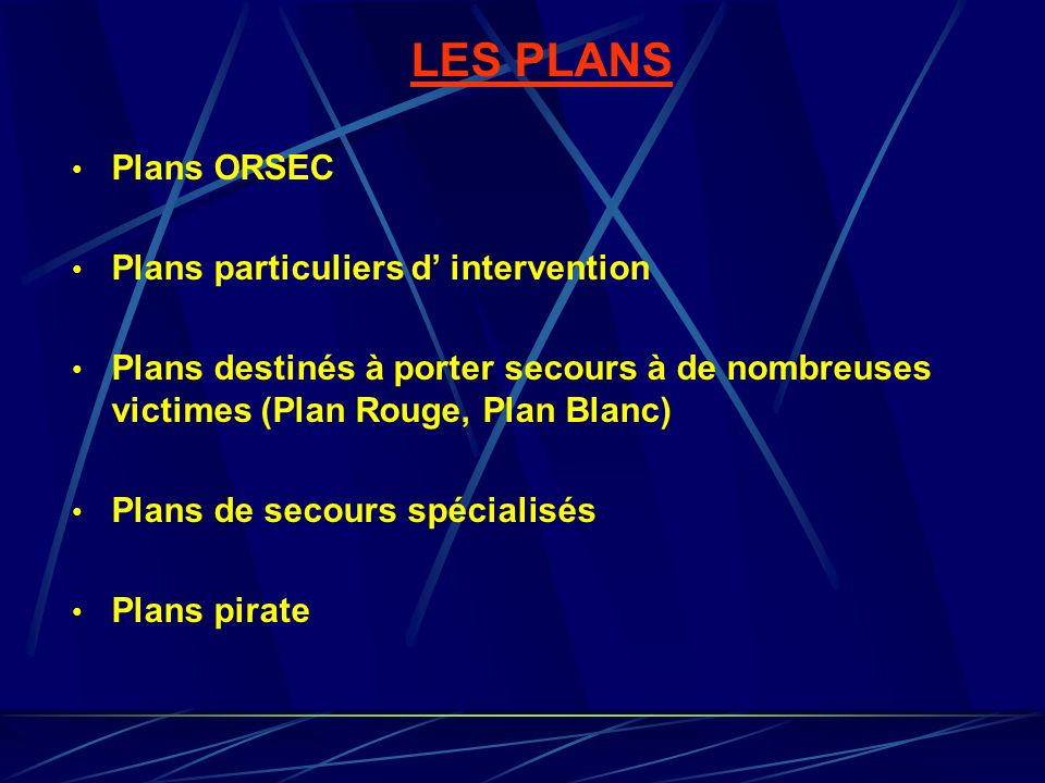 LES PLANS Plans ORSEC Plans particuliers d' intervention