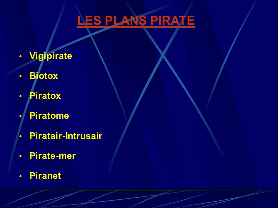 LES PLANS PIRATE Vigipirate Biotox Piratox Piratome Piratair-Intrusair