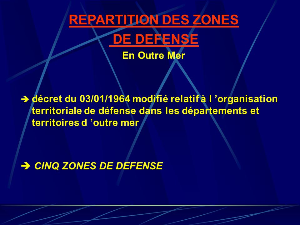 REPARTITION DES ZONES DE DEFENSE