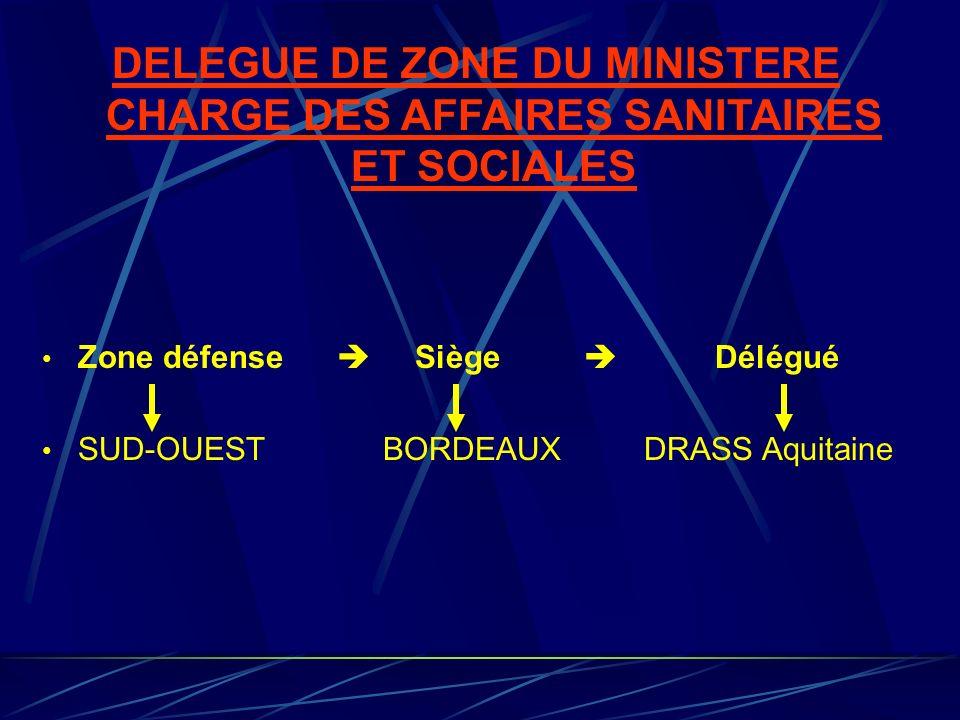 DELEGUE DE ZONE DU MINISTERE CHARGE DES AFFAIRES SANITAIRES ET SOCIALES