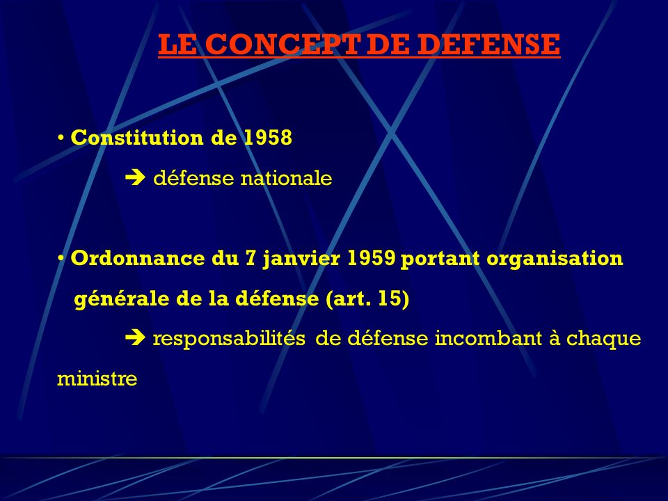 LE CONCEPT DE DEFENSE Constitution de 1958  défense nationale