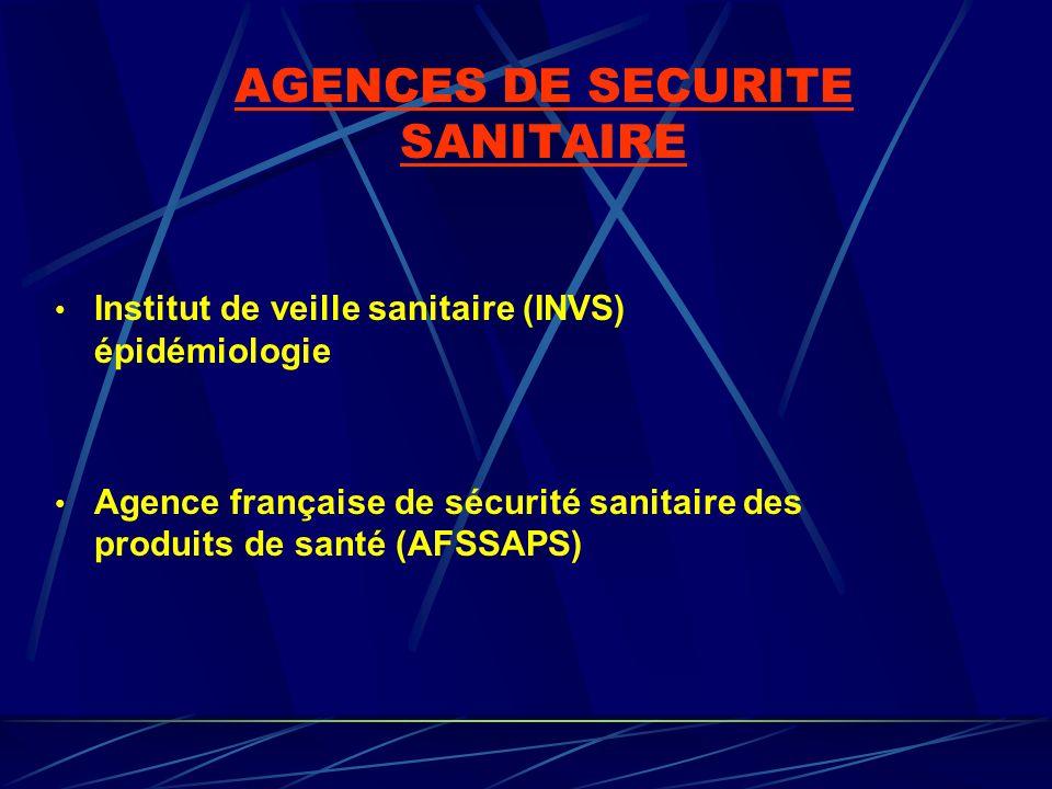 AGENCES DE SECURITE SANITAIRE