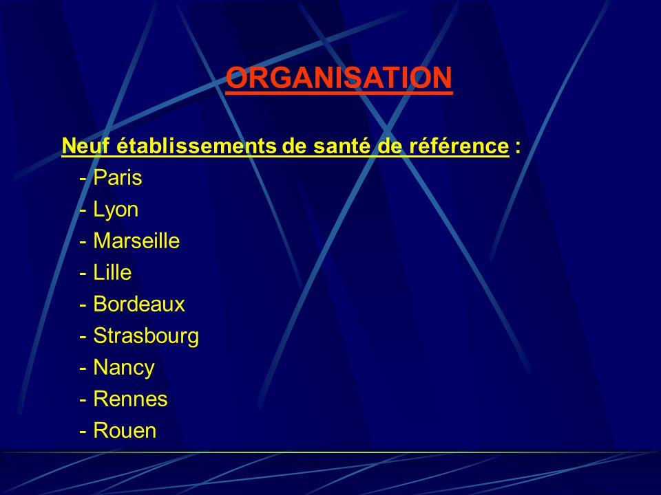 ORGANISATION Neuf établissements de santé de référence : - Paris
