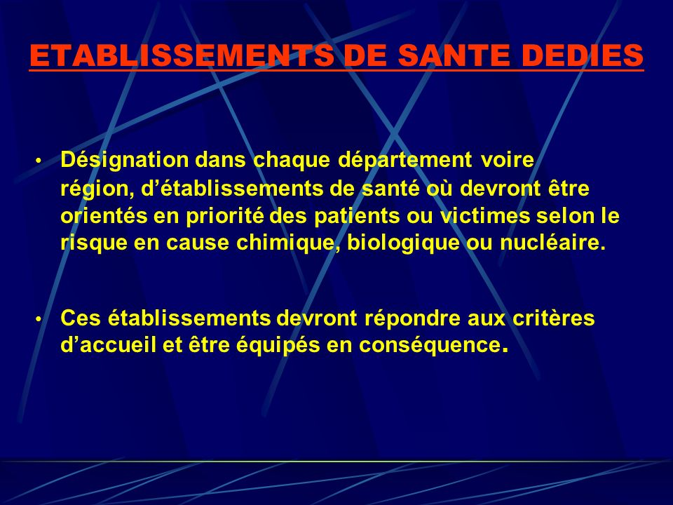 ETABLISSEMENTS DE SANTE DEDIES