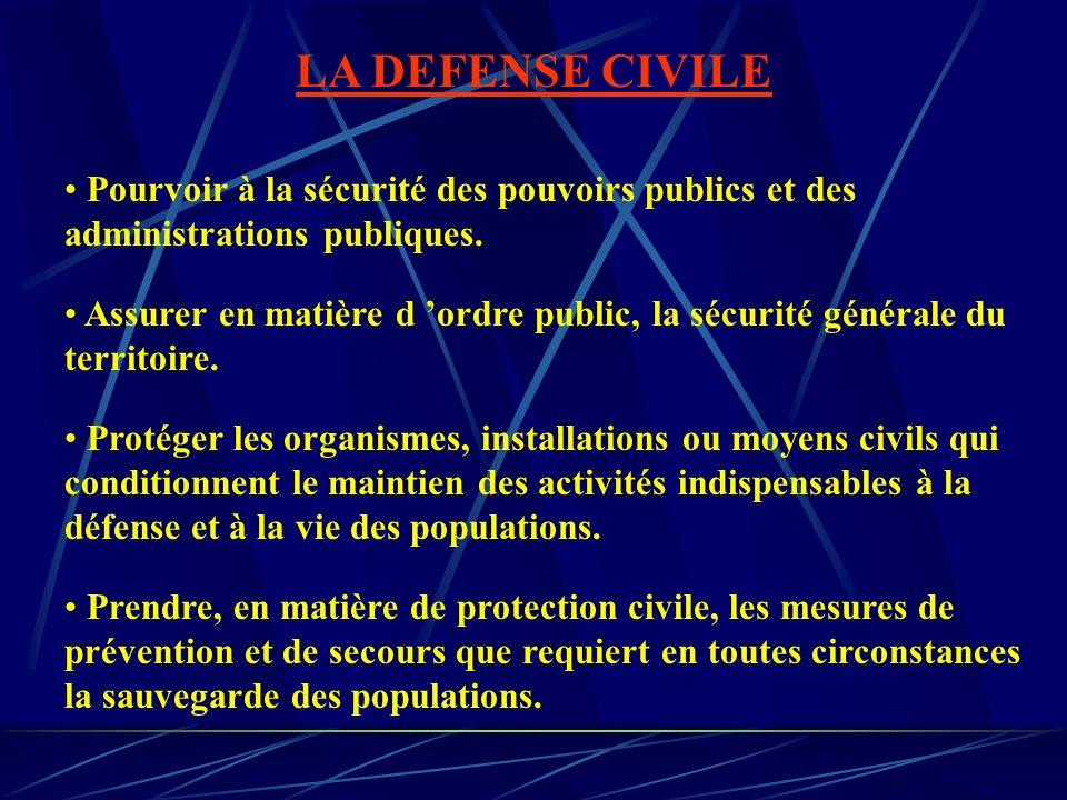 LA DEFENSE CIVILE Pourvoir à la sécurité des pouvoirs publics et des administrations publiques.