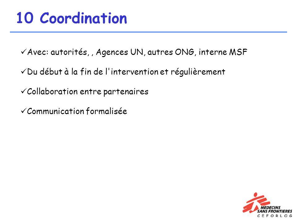 10 Coordination Avec: autorités, , Agences UN, autres ONG, interne MSF