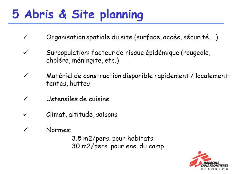 5 Abris & Site planning Organisation spatiale du site (surface, accés, sécurité,...)