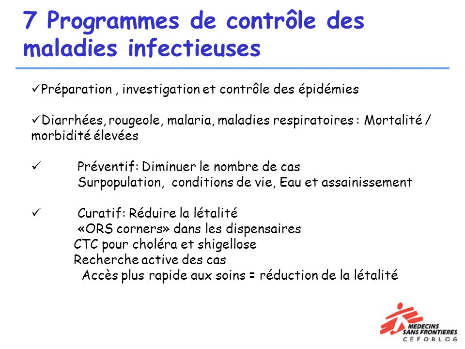 7 Programmes de contrôle des maladies infectieuses