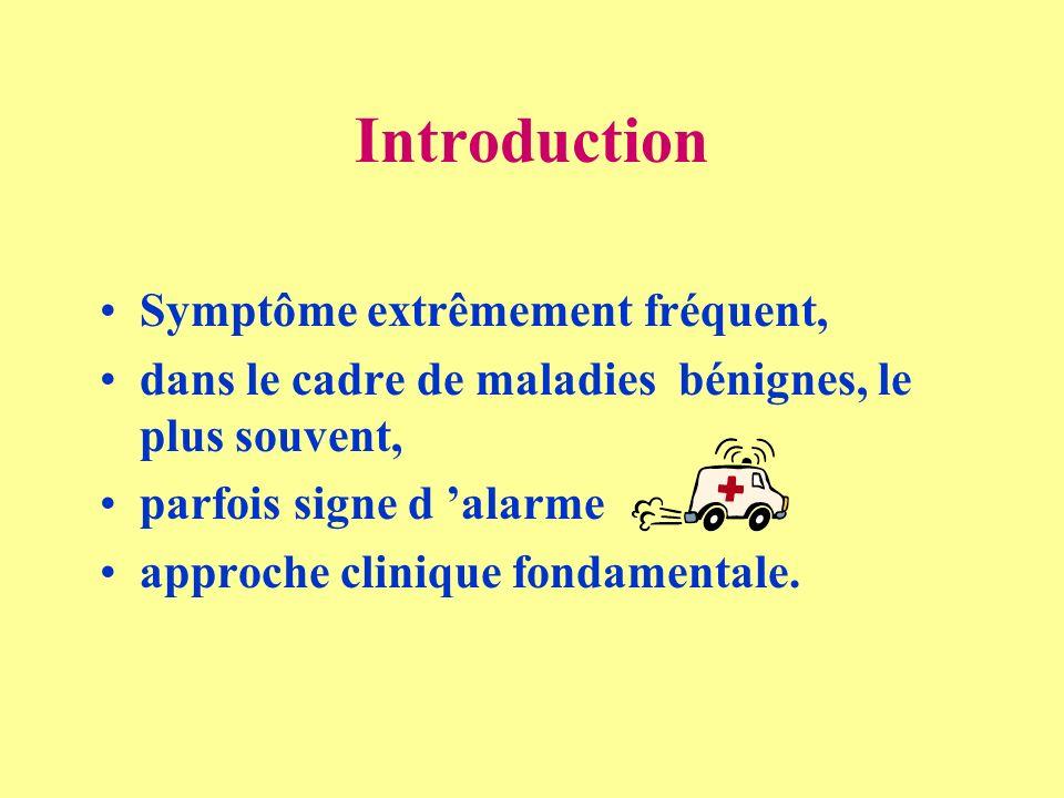 Introduction Symptôme extrêmement fréquent,