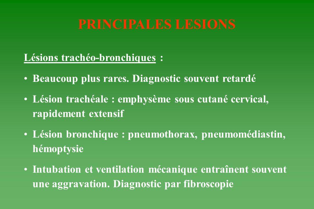 PRINCIPALES LESIONS Lésions trachéo-bronchiques :
