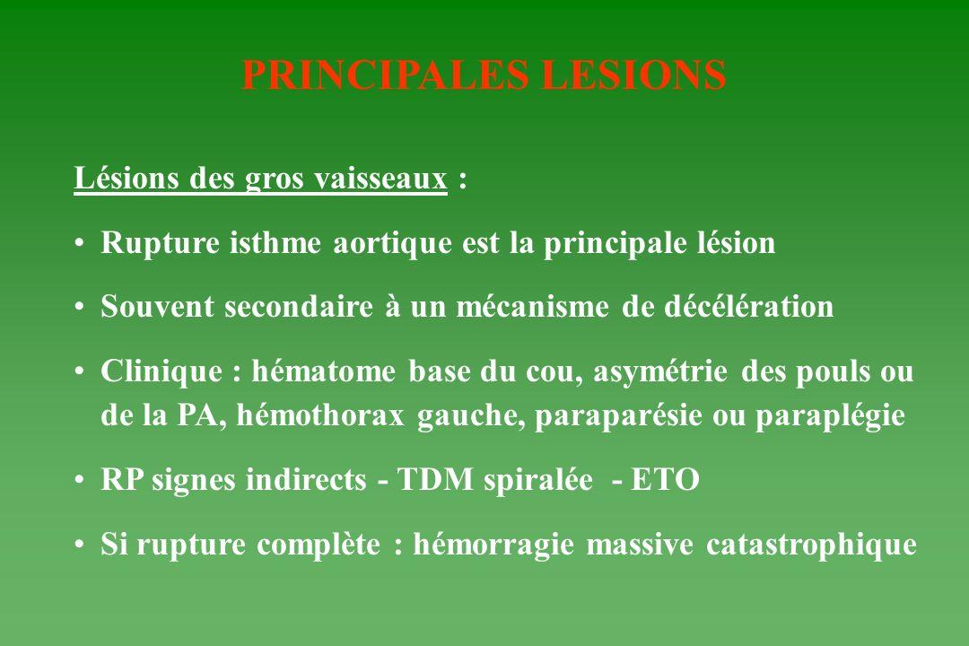 PRINCIPALES LESIONS Lésions des gros vaisseaux :