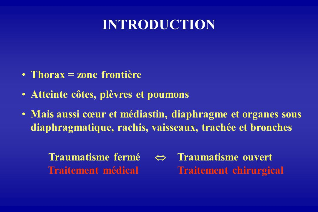 INTRODUCTION Thorax = zone frontière