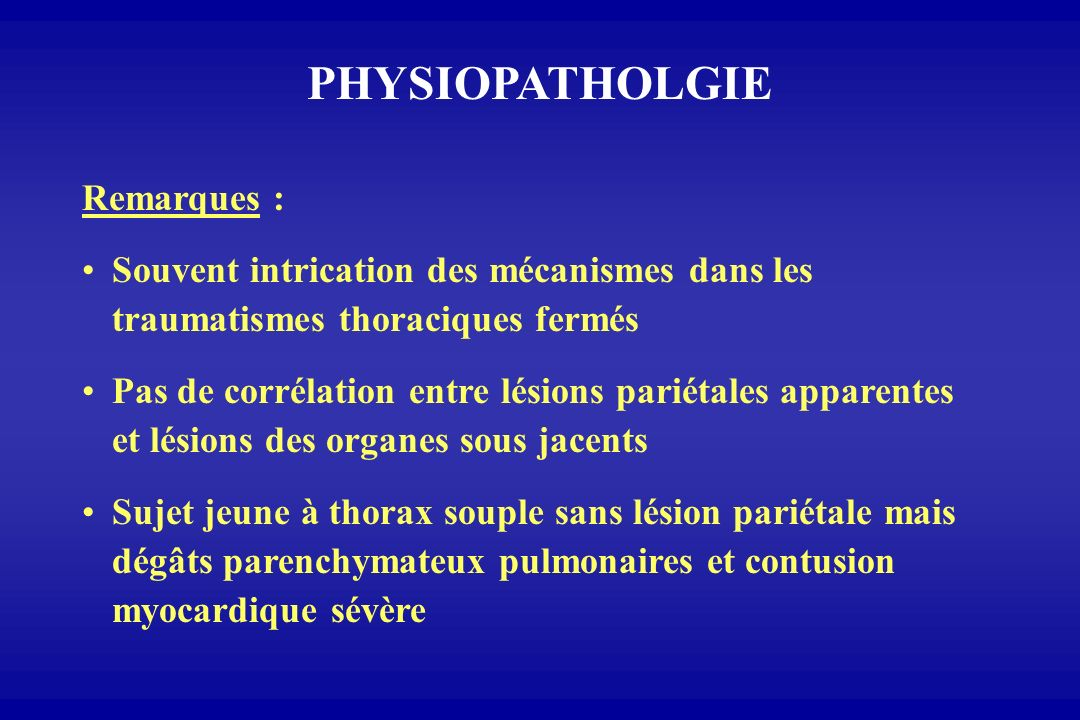 PHYSIOPATHOLGIE Remarques :
