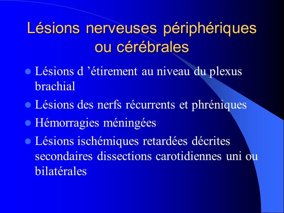 Lésions nerveuses périphériques ou cérébrales