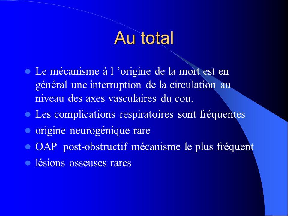 Au total Le mécanisme à l 'origine de la mort est en général une interruption de la circulation au niveau des axes vasculaires du cou.
