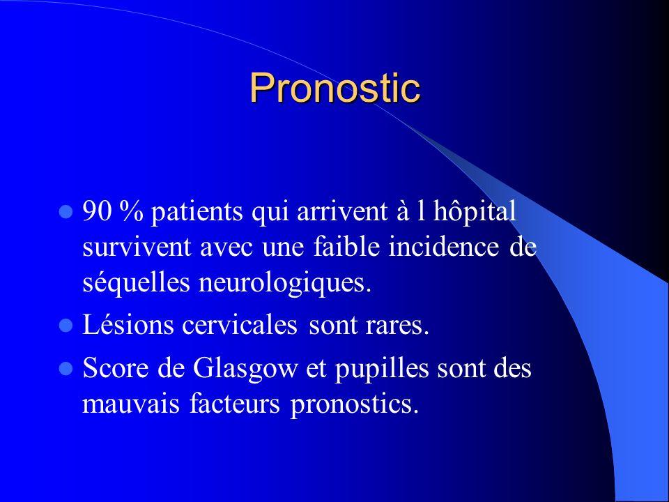 Pronostic 90 % patients qui arrivent à l hôpital survivent avec une faible incidence de séquelles neurologiques.
