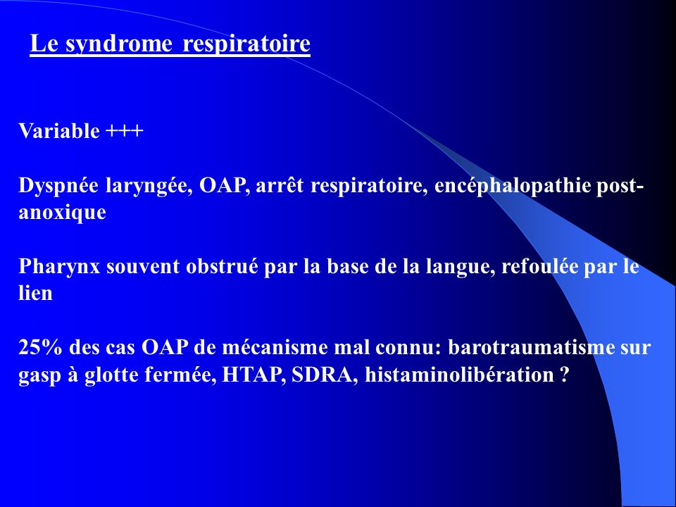 Le syndrome respiratoire