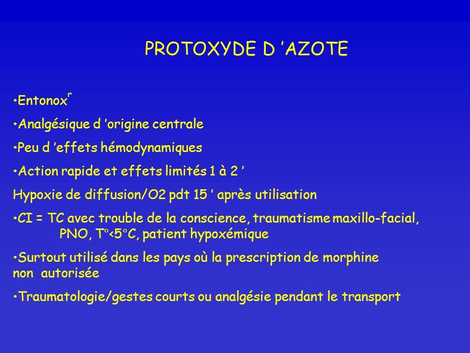PROTOXYDE D 'AZOTE Entonoxr Analgésique d 'origine centrale