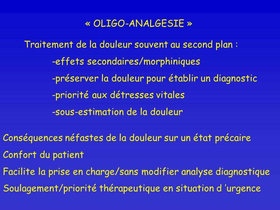 « OLIGO-ANALGESIE »Traitement de la douleur souvent au second plan : -effets secondaires/morphiniques.