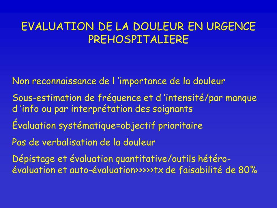 EVALUATION DE LA DOULEUR EN URGENCE PREHOSPITALIERE
