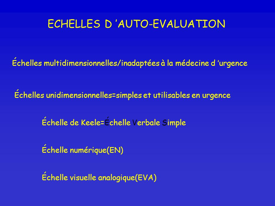 ECHELLES D 'AUTO-EVALUATION