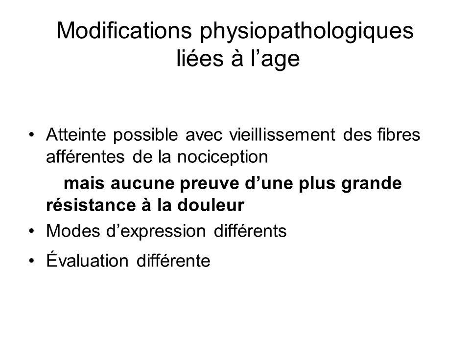Modifications physiopathologiques liées à l'age