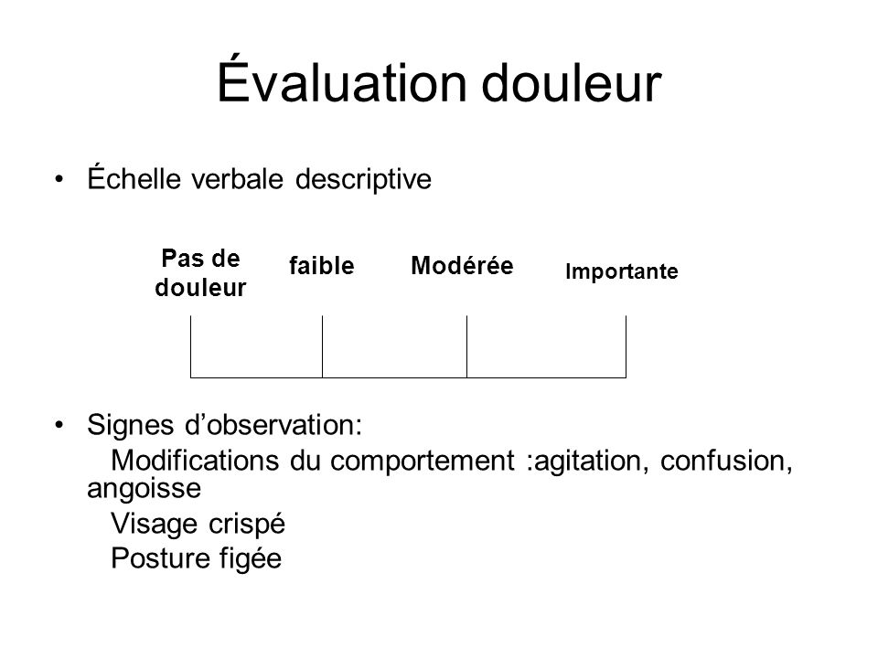 Évaluation douleur Échelle verbale descriptive Signes d'observation: