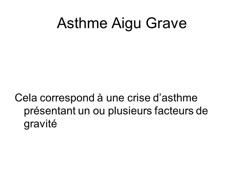 Asthme Aigu Grave Cela correspond à une crise d'asthme présentant un ou plusieurs facteurs de gravité.