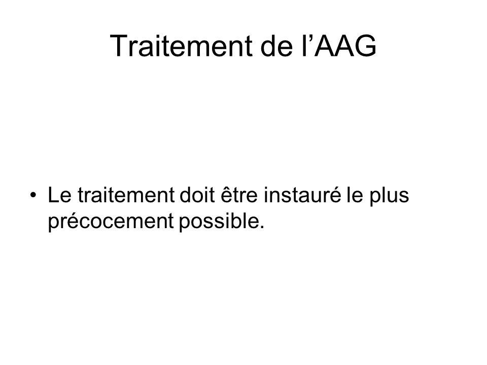 Traitement de l'AAG Le traitement doit être instauré le plus précocement possible.
