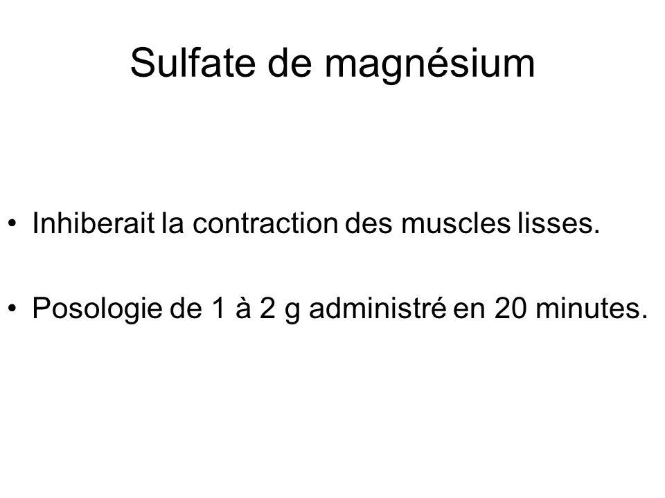 Sulfate de magnésium Inhiberait la contraction des muscles lisses.