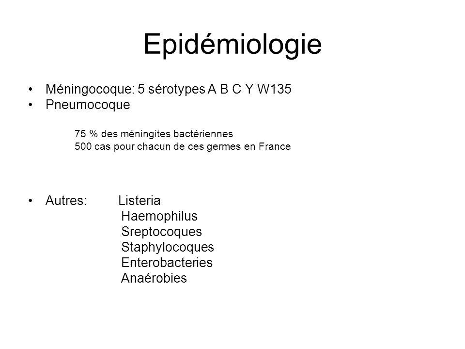 Epidémiologie Méningocoque: 5 sérotypes A B C Y W135 Pneumocoque