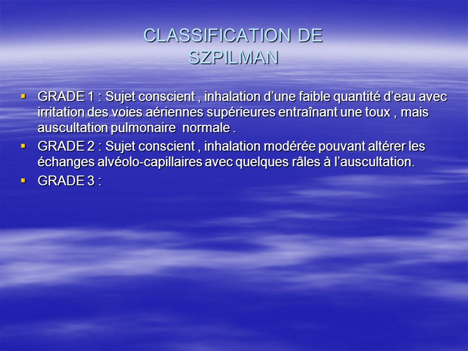 CLASSIFICATION DE SZPILMAN