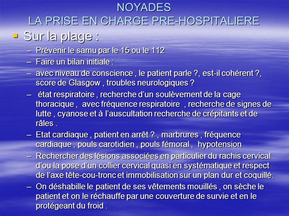 NOYADES LA PRISE EN CHARGE PRE-HOSPITALIERE
