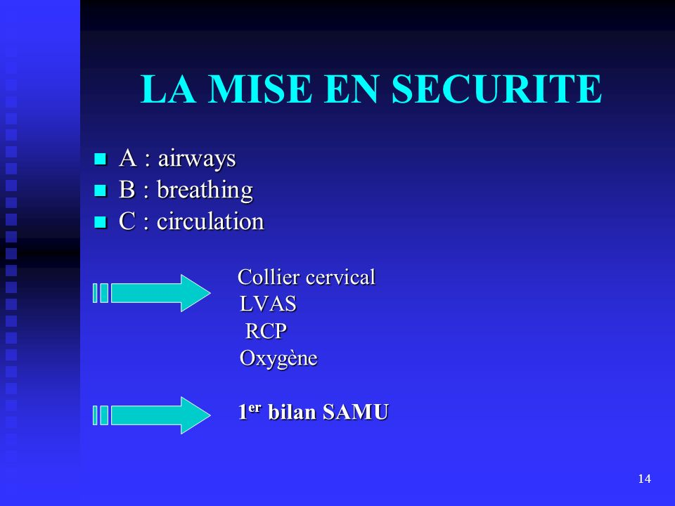 LA MISE EN SECURITE A : airways B : breathing C : circulation LVAS RCP