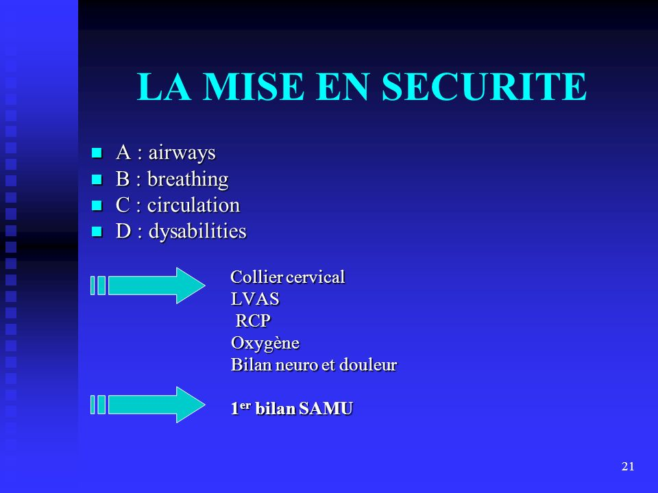 LA MISE EN SECURITE A : airways B : breathing C : circulation