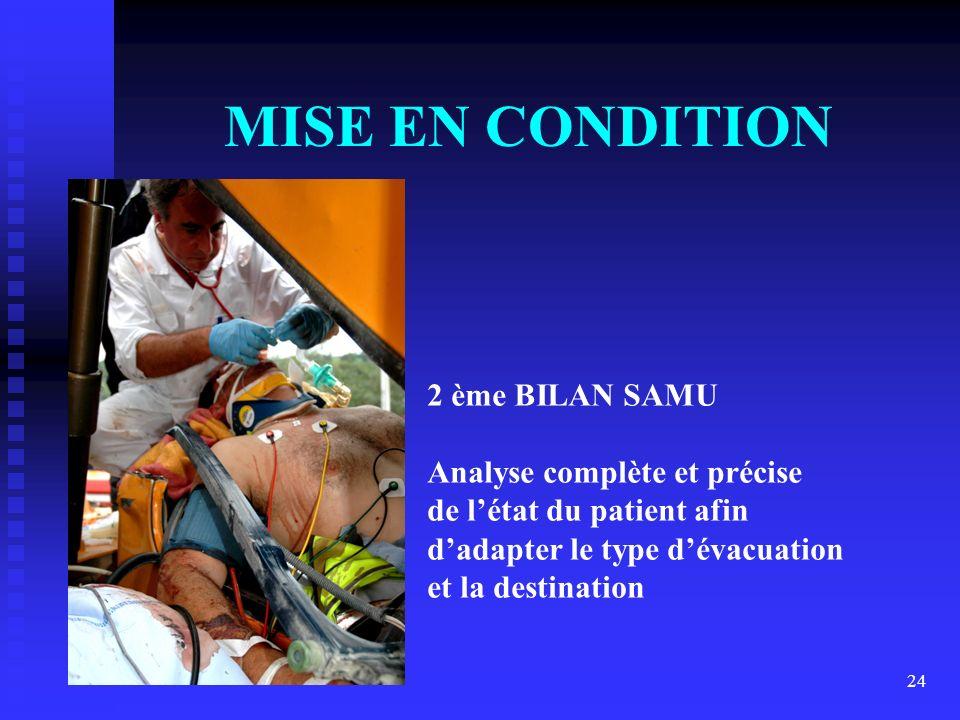 MISE EN CONDITION 2 ème BILAN SAMU Analyse complète et précise