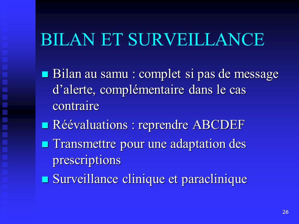 BILAN ET SURVEILLANCE Bilan au samu : complet si pas de message d'alerte, complémentaire dans le cas contraire.