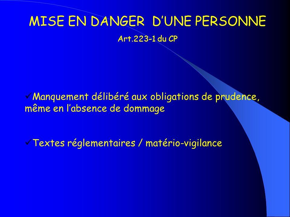 MISE EN DANGER D'UNE PERSONNE